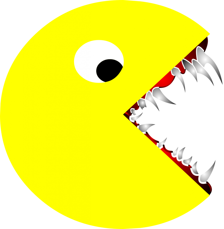 An+over-exaggerated+caricature+of+a+%22mature%22+Pac-Man++++
