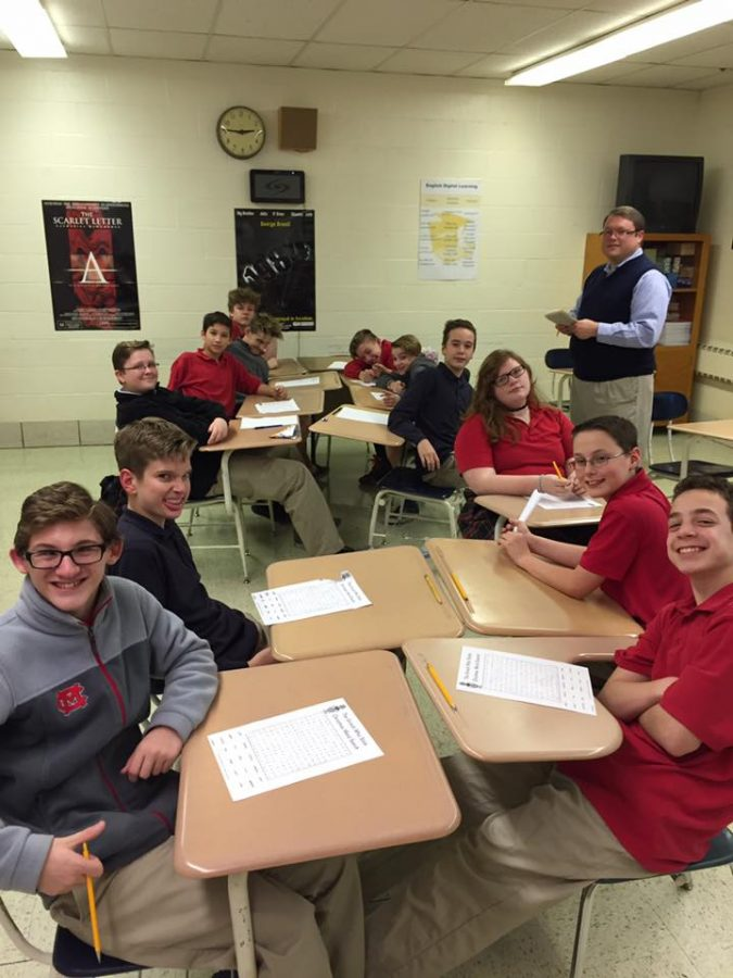 In my Mansfield Christian classroom with a group of seventh and eighth graders doing a special Christmas activity.