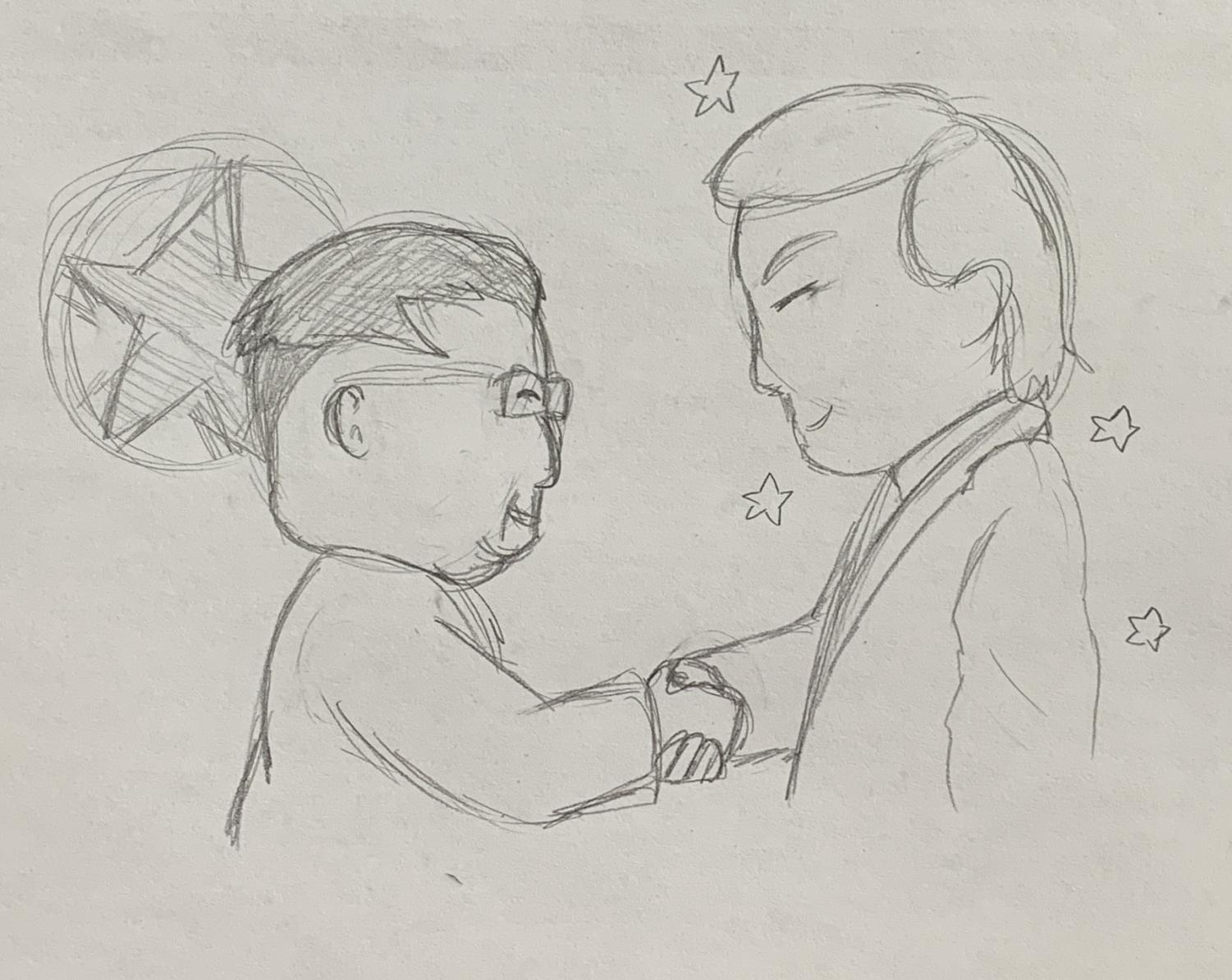 President Donald J. Trump of the United States of America, shaking hands with Kim Jong-Un the Leader of North Korea.