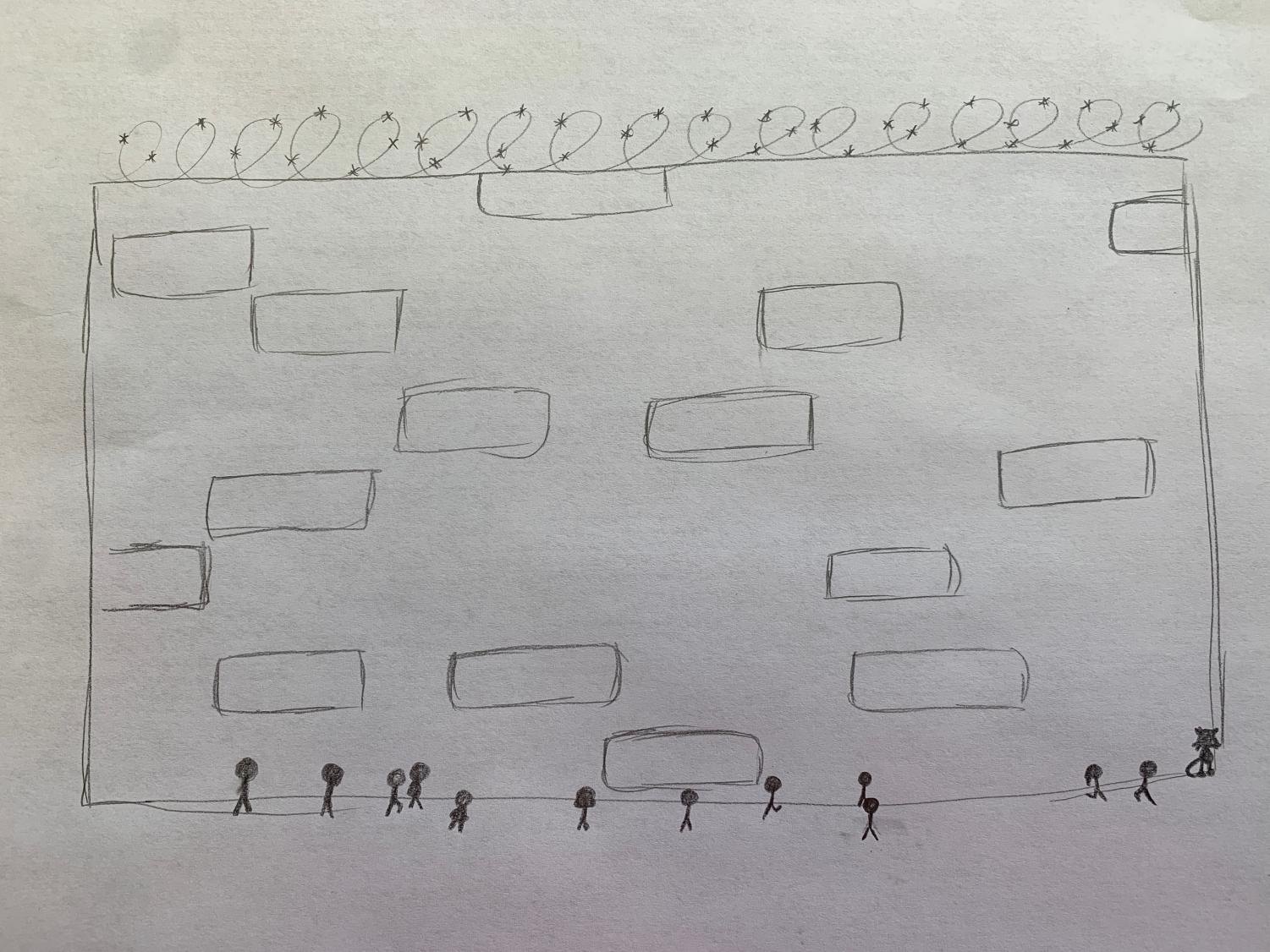 People standing looking at the wall between  Mexico and the USA. Drawn by Monicka Ridgill.