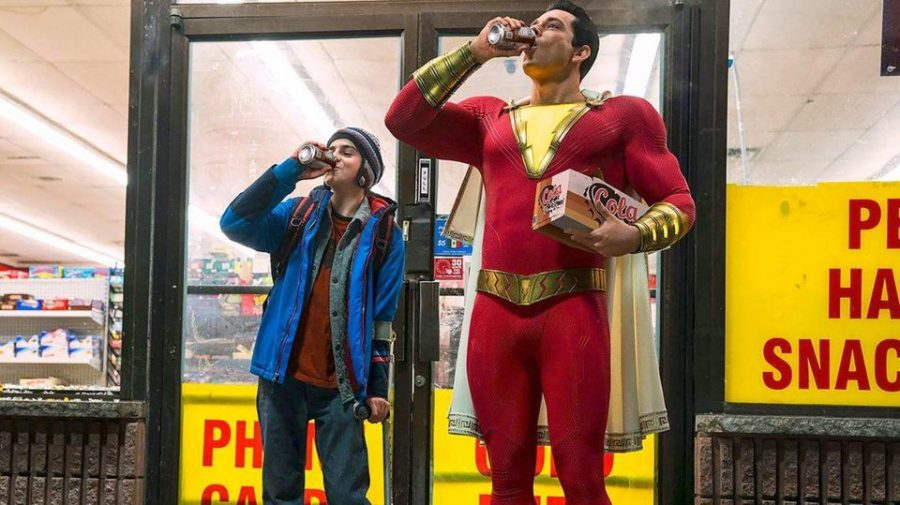 Shazam%28Captain+Marvel%29+and+Freddy+sharing+a+root+beer.
