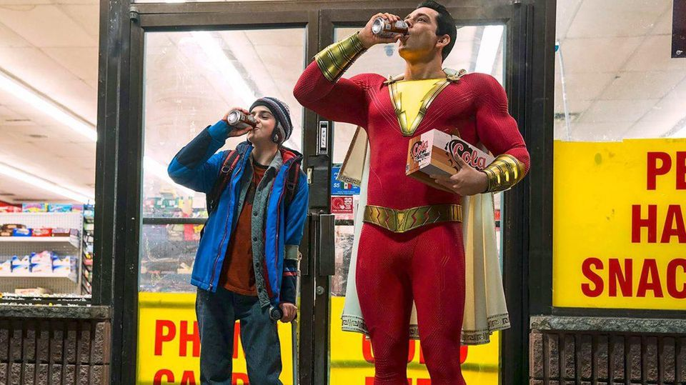 Shazam(Captain Marvel) and Freddy sharing a root beer.