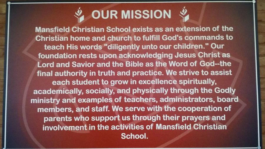 Mission statement at school entrance