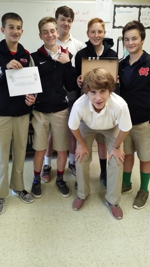 Sophomore guys who are working on collecting money for clean water for Africa.