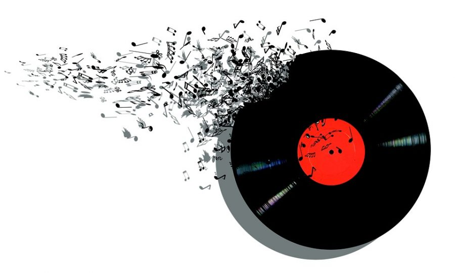 Vinyl record representing music through the ages.