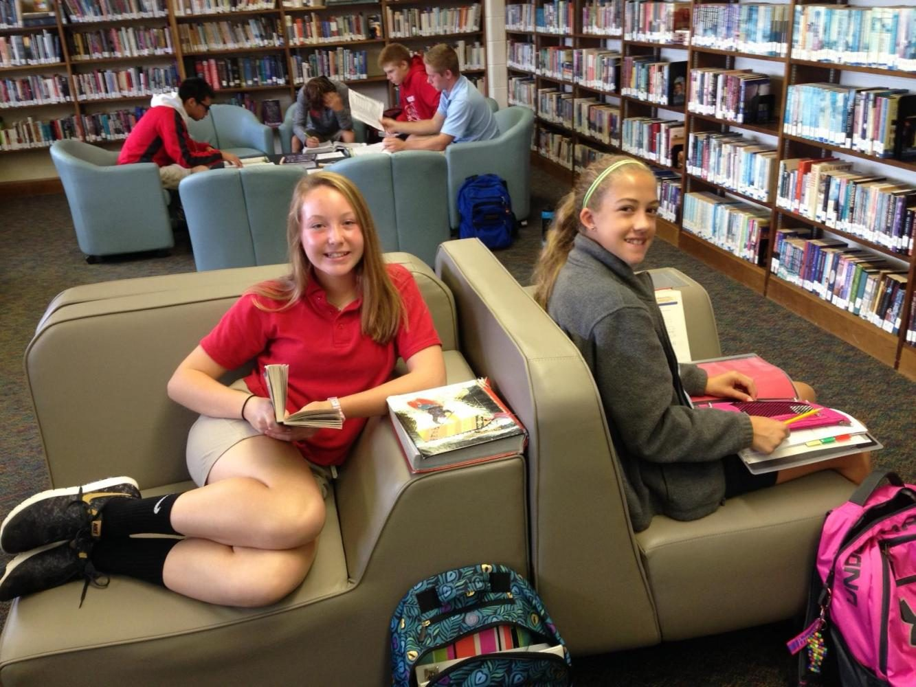 Students pause from studying to pose for picture in the CLC.