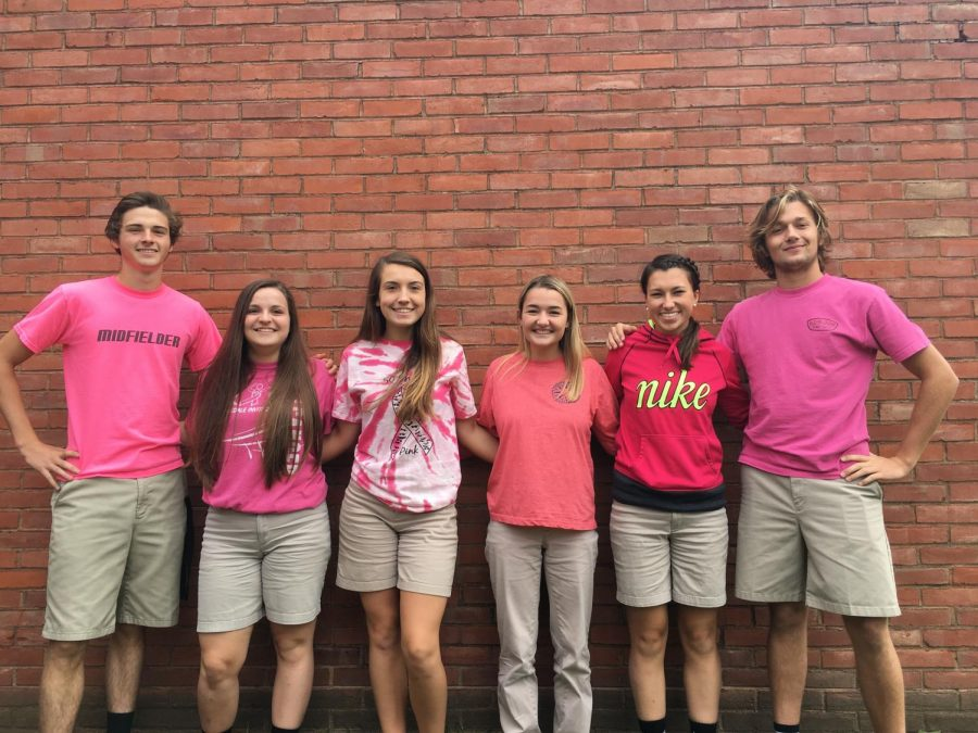 Students wore pink to show their support