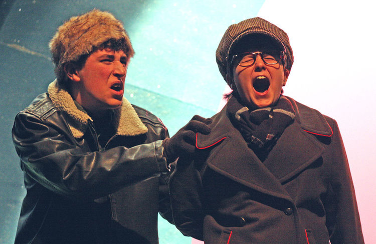 Christian Shepherd rehearses for his role in A Christmas Story.