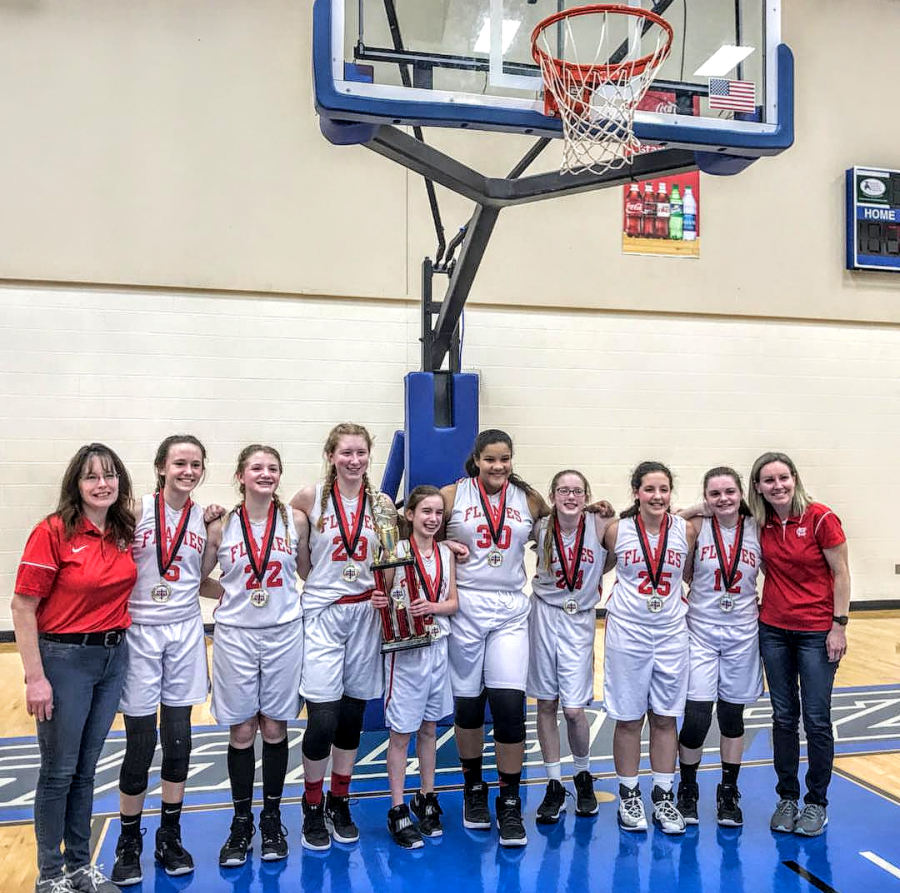 Junior High Lady Flames Basketball Wins State!
