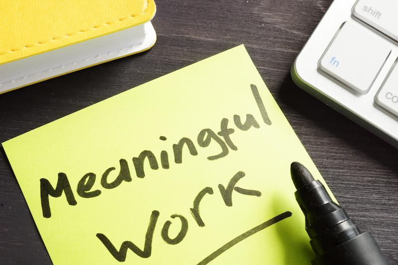 Meaningful Work written on a memo stick.